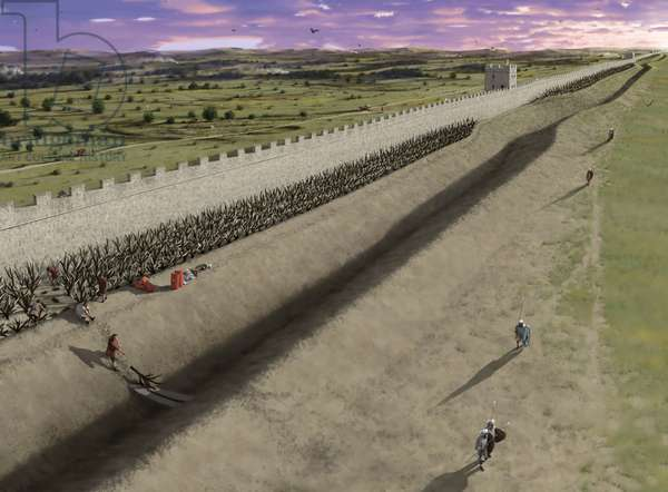 Reconstruction of Hadrian's Wall when first built between Newcastle and Wallsend, 2015 (digital)