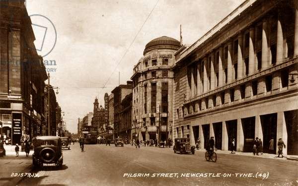 Postcard of a view looking up Pilgrim Street, Newcastle upon Tyne, UK, c.1933