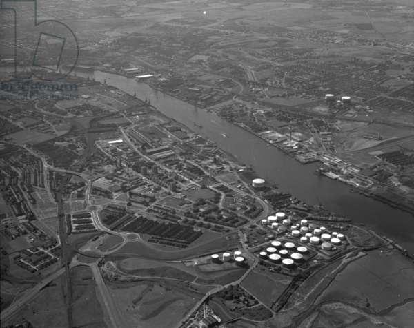 Aerial view of Jarrow, UK, June 1973 (b/w photo)