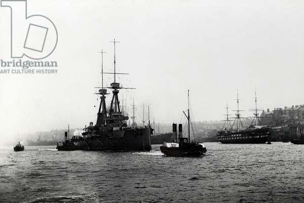 The battleship HMS 'Superb' passing North Shields, 1909 (b/w photo)