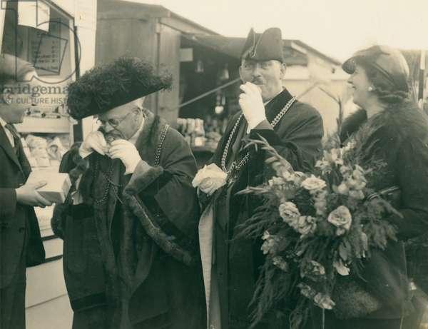 Lord Mayor of Newcastle at the Race Week Festival, Newcastle, UK, 1937 (b/w photo)