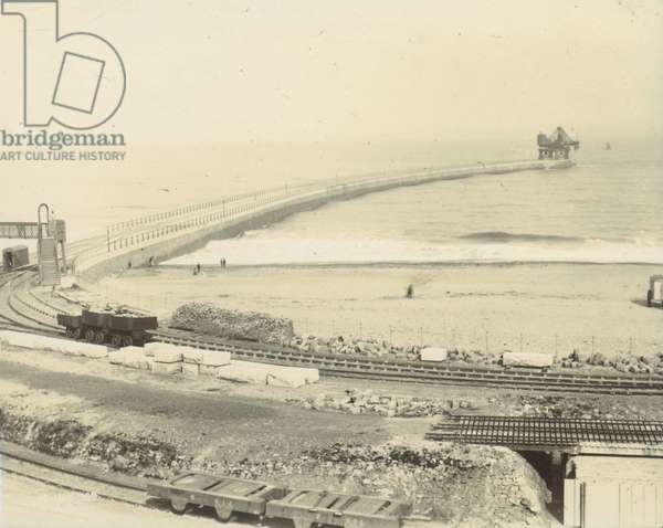 Progress at Roker Pier, 1889 (b/w photo)