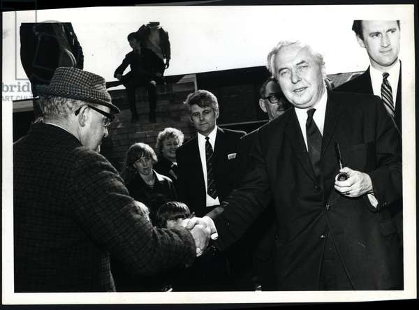 Harold Wilson meeting locals of Washington, UK, late 1960s (b/w photo)