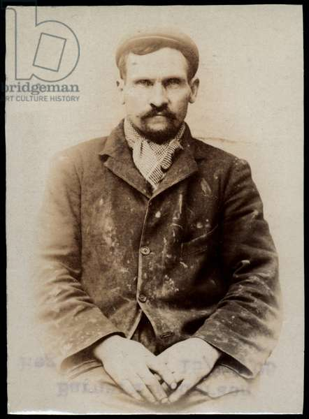 Bernard Andersen, arrested for indecent behaviour, North Shields, UK, 1905 (b/w photo)