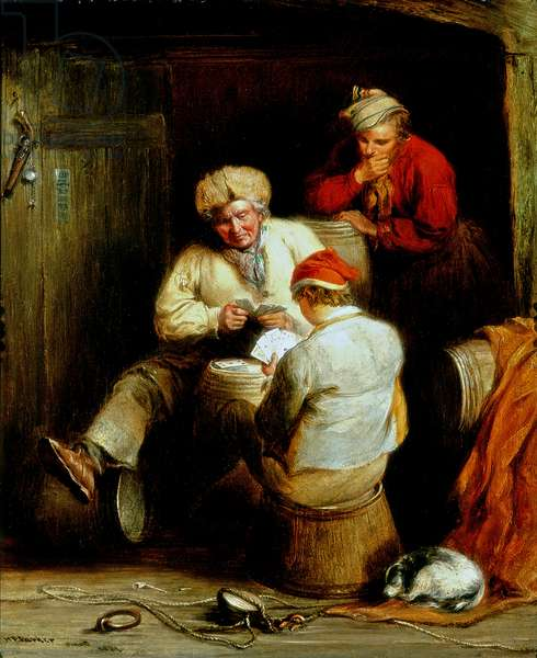Smugglers Playing Cards (oil on canvas)