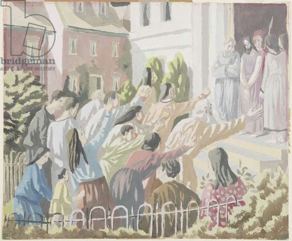 Christ before the People, 1928 (oil & pencil on paper)