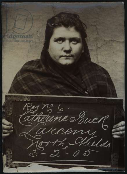 Catherine Buck, arrested for stealing sheets, North Shields, UK, 1905 (b/w photo)