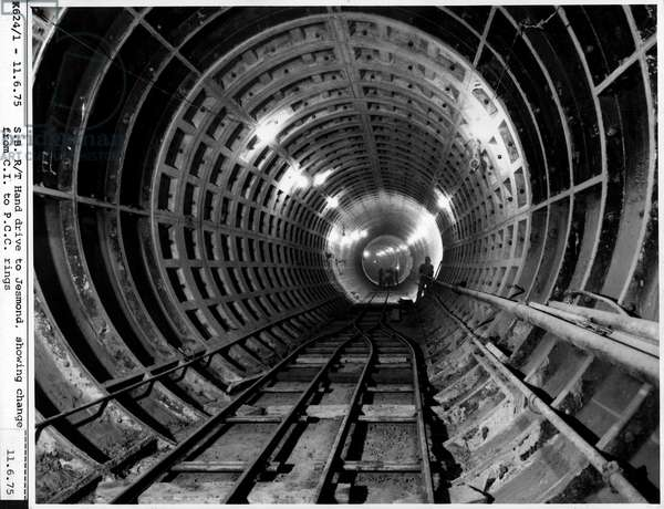 A view of the North South Line to Jesmond, documenting the right hand drive tunnel, 11th June 1975, Tyne & Wear, UK (b/w photo)