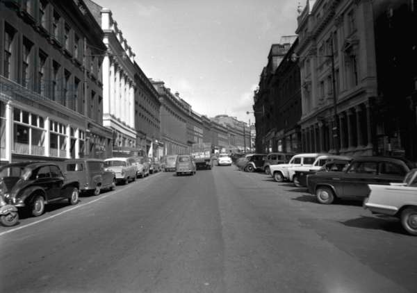 View of Grey Street, looking up from near the bottom, Newcastle upon Tyne, UK, May 1961 (b/w photo)