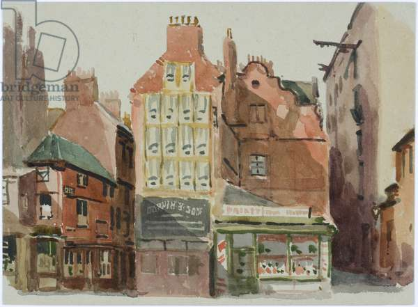 Shops on Quayside, Newcastle upon Tyne, 1938 (w/c on paper)