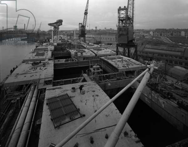Deck view of 'Naess Crusader' at the fitting out quay, Sunderland, UK, 1973 (b/w photo)