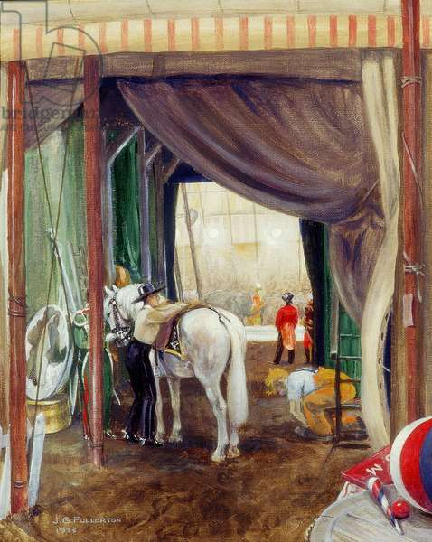 Saddling a Circus horse, 1935 (oil on board)