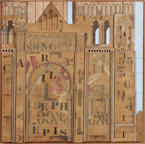 West Front, Durham, 1974 (acrylic, clay and wood on textile)