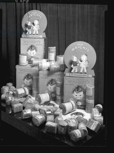 Studio shot of Wright's biscuits, South Shields, UK (b/w photo)