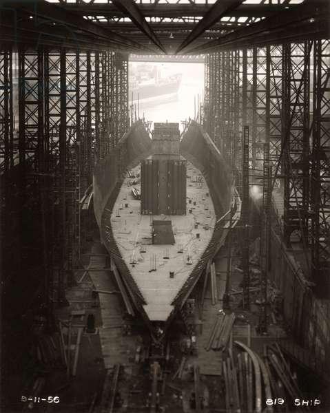 Work starts on Northbank's bulkheads at the shipyard of William Doxford & Sons, Sunderland, 8th November 1956 (b/w photo)