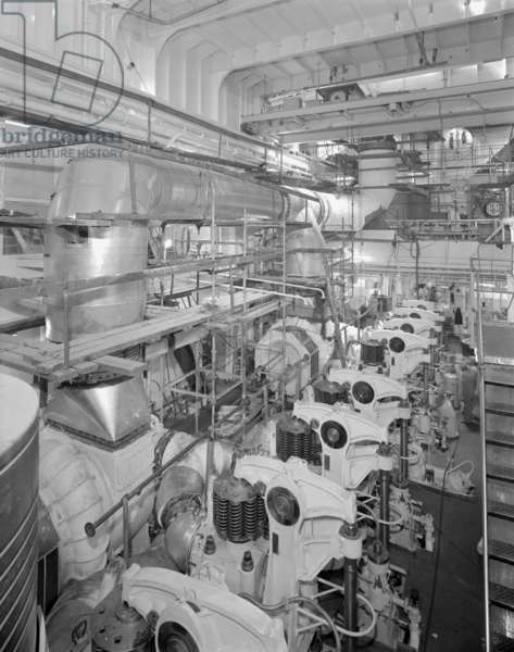 The engine room of 'Naess Crusader', 1973 (b/w photo)
