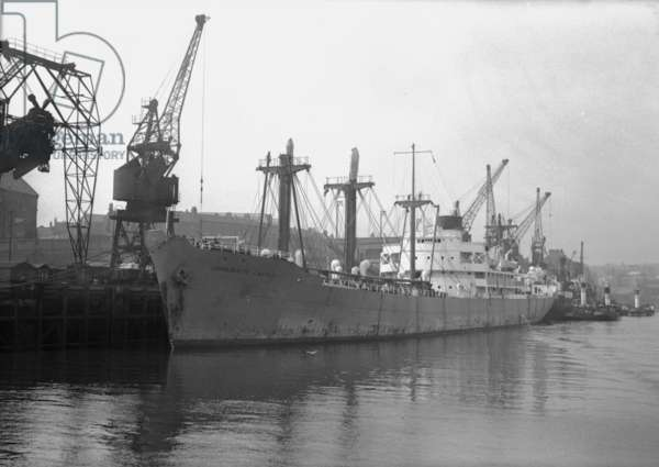 A cargo liner from East Africa at the Corporation Quay, Sunderland, UK, 1949 (b/w photo)