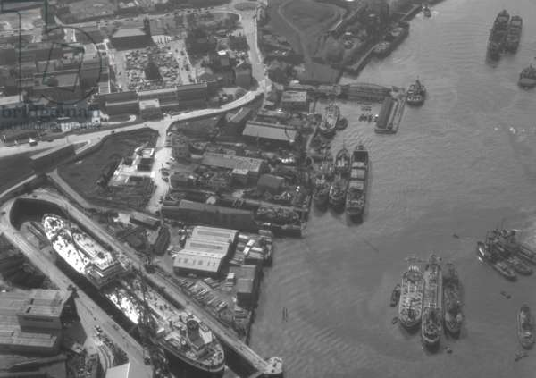 Aerial view of Tyne Dock Engineering Co, South Shields, UK, August 1962 (b/w photo)