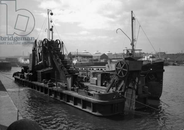 A dredger at the South Docks, Sunderland, UK, 1961 (b/w photo)