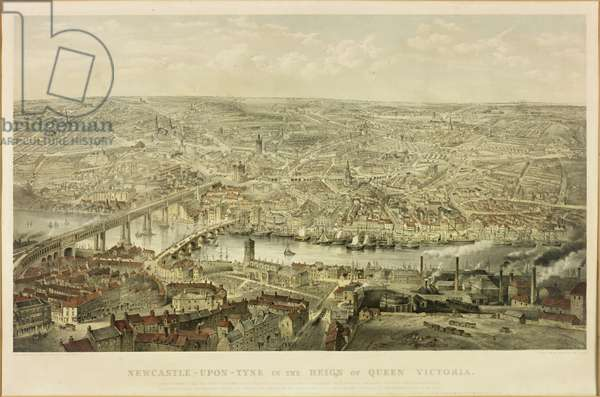 Newcastle upon Tyne in the Reign of Queen Victoria (litho with w/c)