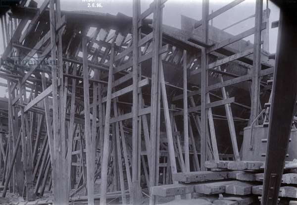 The ice-breaking train ferry steamer 'SS Baikal' in frame during construction by Sir W.G. Armstrong Mitchell and Co. Ltd., at Low Walker shipyard, Newcastle upon Tyne in 1896 (b/w photo)