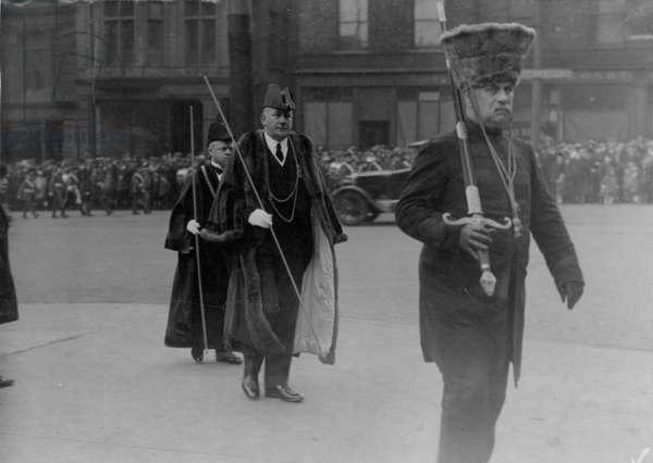 John Grantham attending 6th Northumberland Fusiliers church service, UK, 1925 (b/w photo)