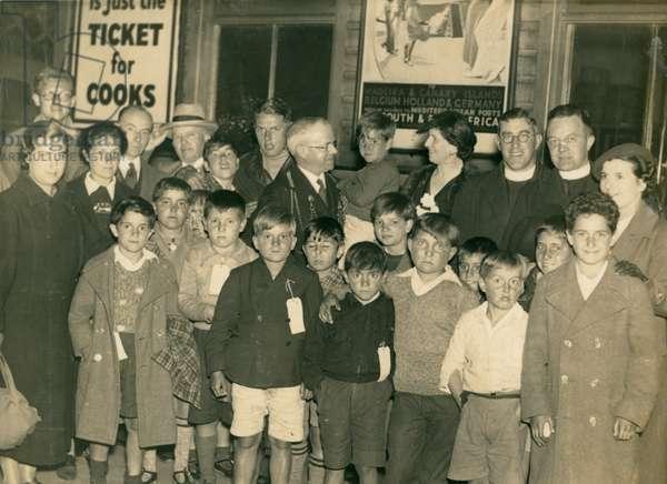 Welcoming Basque children to Newcastle upon Tyne, Newcastle, UK, 1937 (b/w photo)