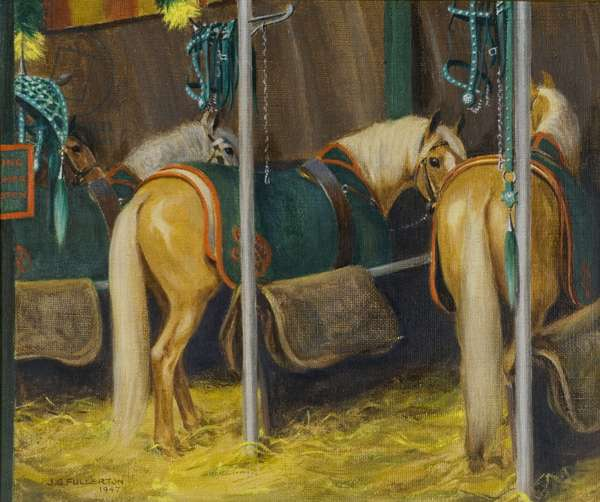 Circus Ponies in Stalls, 1947 (oil on canvas)