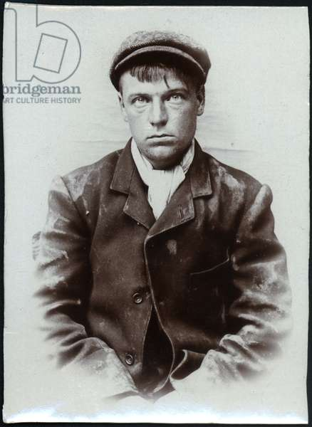 John Cowper, labourer, arrested for preparing to commit a felony, North Shields, UK, 1906 (b/w photo)