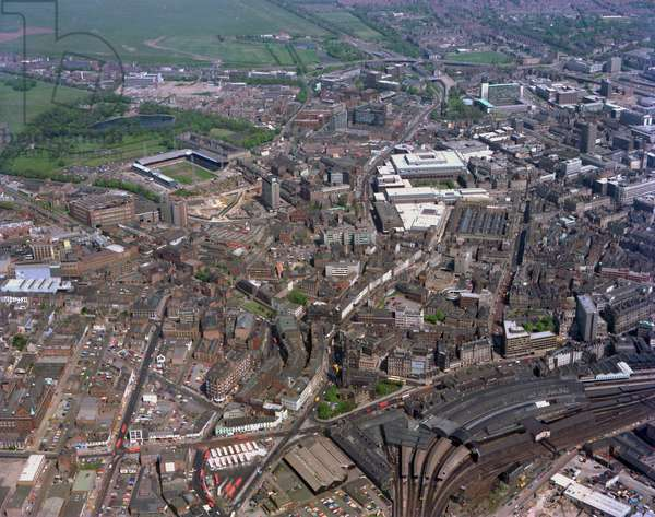 Newcastle Central Station and surrounding area, Newcastle upon Tyne, UK, 1977 (photo)