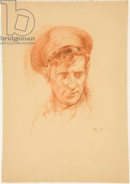 Head Study of a Fireman AFS (Wearing Cap) (pastel & pencil on board)