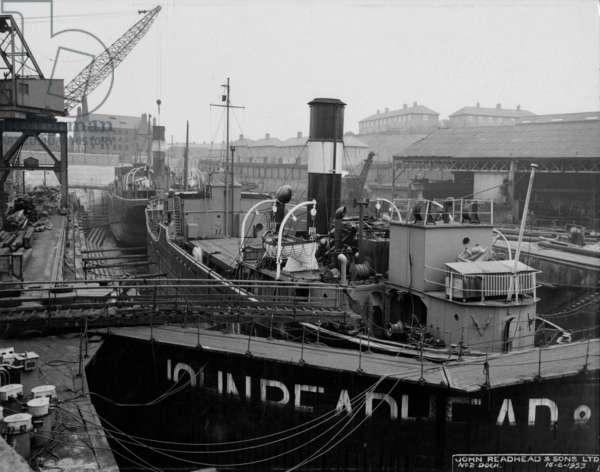 Dry dock at Readhead's shipyard, South Shields, UK, 1953 (b/w photo)
