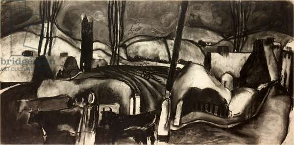 Fields Behind Aspatria (charcoal on paper on board)