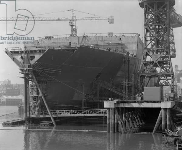 View of progress on the stern of 'Naess Crusader', Sunderland, UK, 1972 (b/w photo)