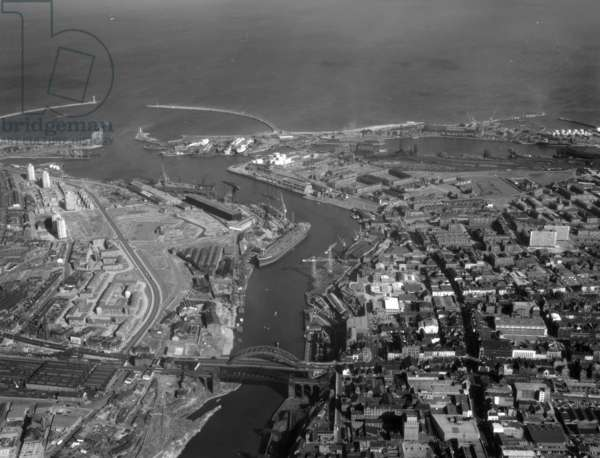 Aerial view of the River Wear, Sunderland, UK, 1964 (b/w photo)