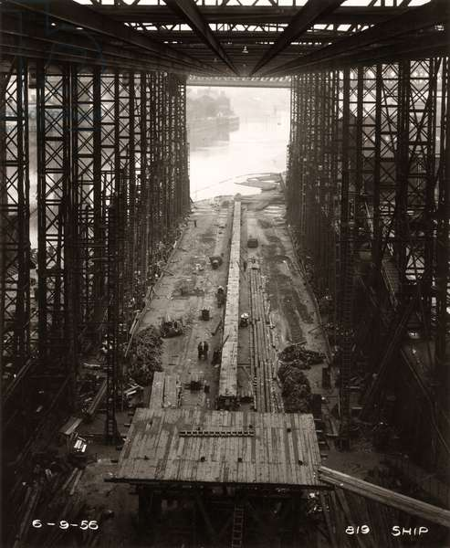 The keel of the cargo ship 'Northbank' is laid, 6th September 1956 (b/w photo)