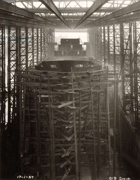 Shell plating complete at the bow of 'Northbank', 17th January 1957 (b/w photo)