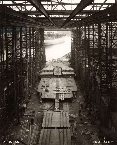 Work starts on the double bottom of 'Northbank' at the shipyard of William Doxford & Sons, Sunderland, 4th October 1956 (b/w photo)