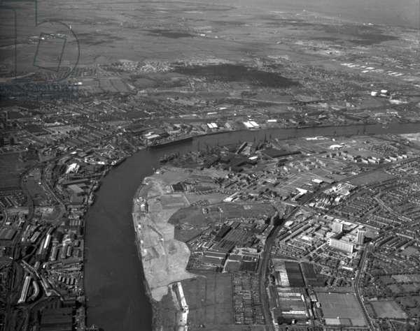 Aerial view of Hebburn, UK, June 1973 (b/w photo)