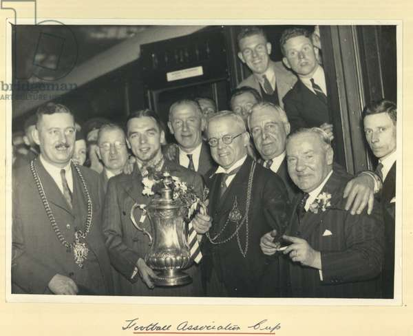 Greeting Sunderland's FA Cup winning team, Newcastle, UK, 1937 (b/w photo)