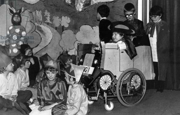 Children performing in a school play at the Royal Victoria School for the Blind, possibly a Nativity performance, Newcastle upon Tyne, UK, 1982 (b/w photo)