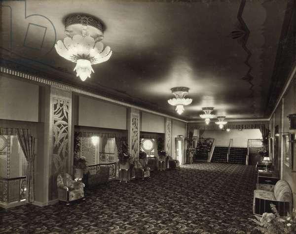 View of the main balcony foyer at the Paramount Theatre, Pilgrim Street, Newcastle upon Tyne, September 1931 (b/w photo)