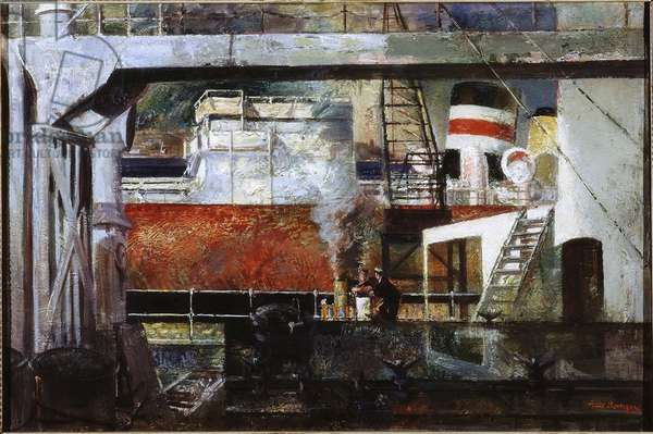Tankers at Middle Dock, South Shields, c.1945-51 (oil on canvas)