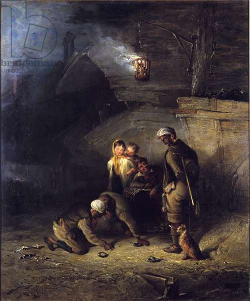 Pitmen Playing at Quoits (oil on canvas)