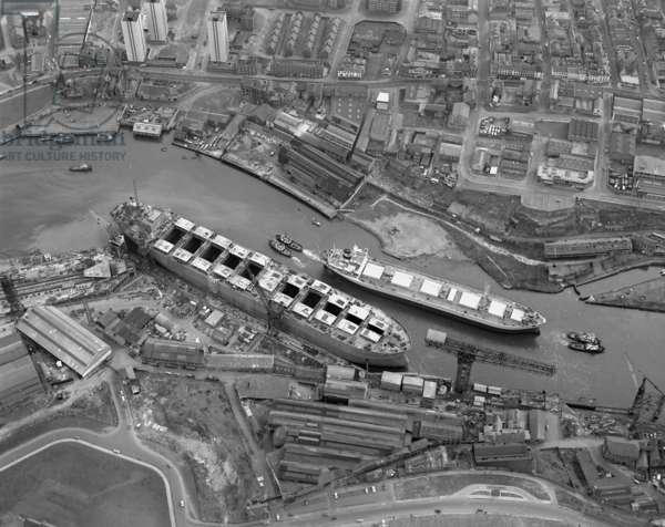 Aerial view of the River Wear, Manor Quay, Sunderland, 1973 (b/w photo)