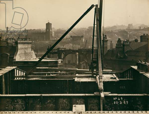 View of the Tyne Bridge in the very early stages of construction, looking from Newcastle upon Tyne over towards Gateshead, 22nd March 1927 (b/w photo)