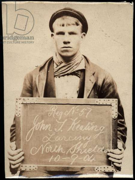 John T. Keating, arrested for stealing sash weights, North Shields, UK, 1904 (b/w photo)
