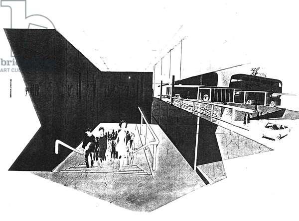 Four Lane Ends Metro Interchange, 1975-77 (litho)