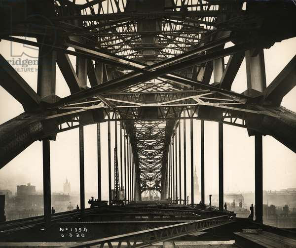 View along the Tyne Bridge looking towards Newcastle, as work on its construction continues, 6th March 1928 (b/w photo)