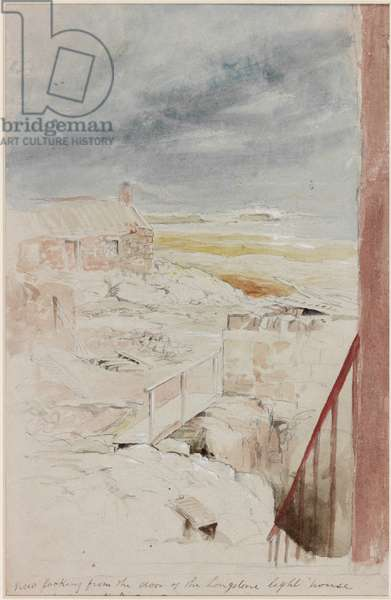 View from Longstone Lighthouse, 1838 (b/c, pencil & w/c on paper)